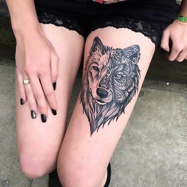 155 extraordinary female thigh tattoos designs with their for Small ass tattoos