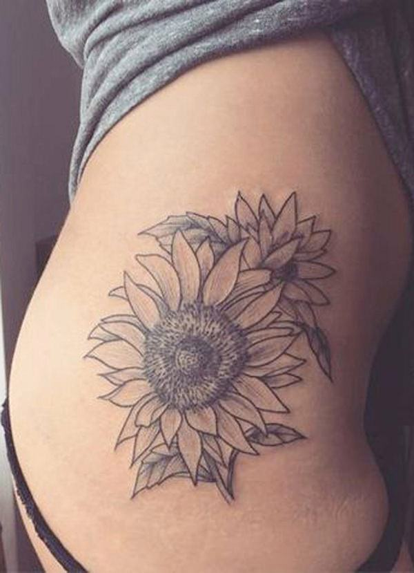 155 extraordinary female thigh tattoos designs with their for Sunflower tattoo thigh