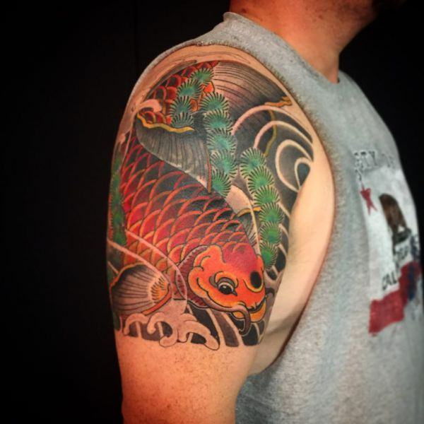 35 koi fish tattoo inspirations for men and women for Blue coy fish tattoo