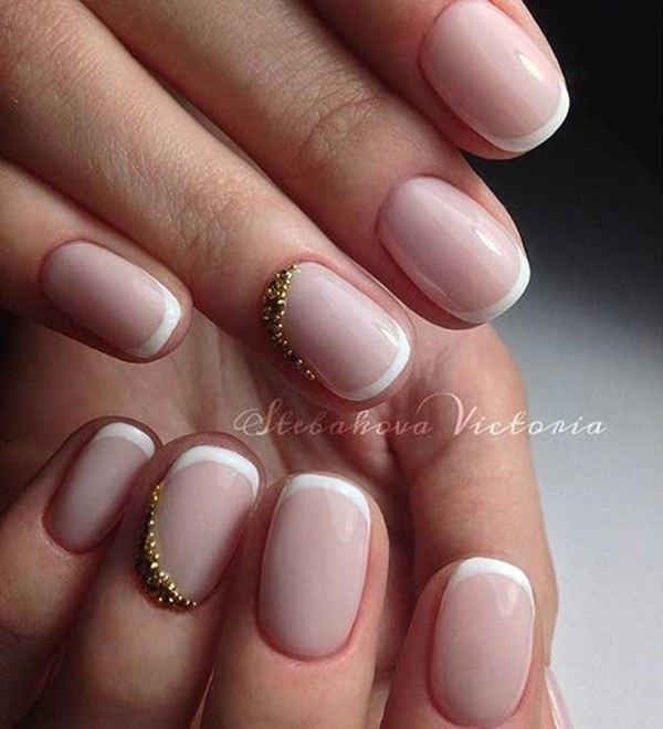 2. Nude and Gold. For an everyday french tip nails designs ... - 76 Chic French Tip Nails Design That You Can Get Easily
