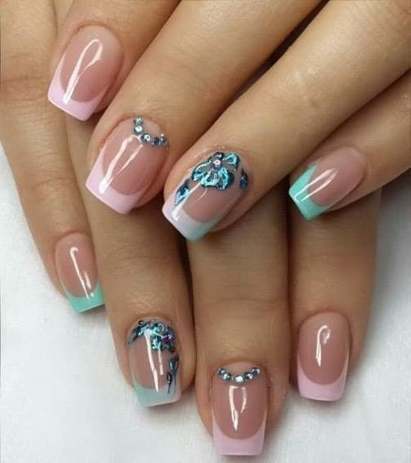 24. Turquoise Pink - 76 Chic French Tip Nails Design That You Can Get Easily