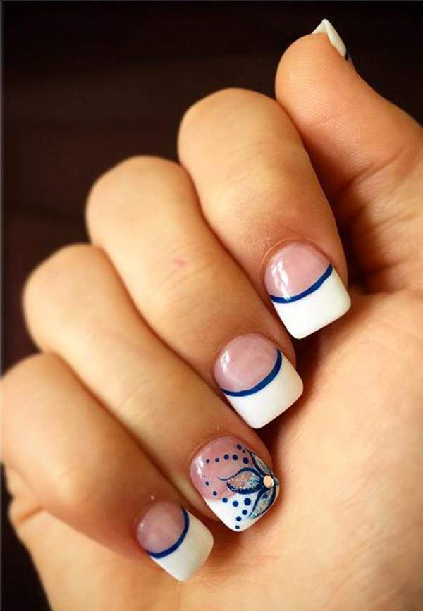 Blue French Tip Nail Art - 76 Chic French Tip Nails Design That You Can Get Easily