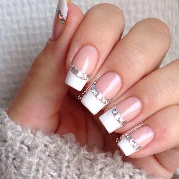 7. Add Some Shine - 76 Chic French Tip Nails Design That You Can Get Easily